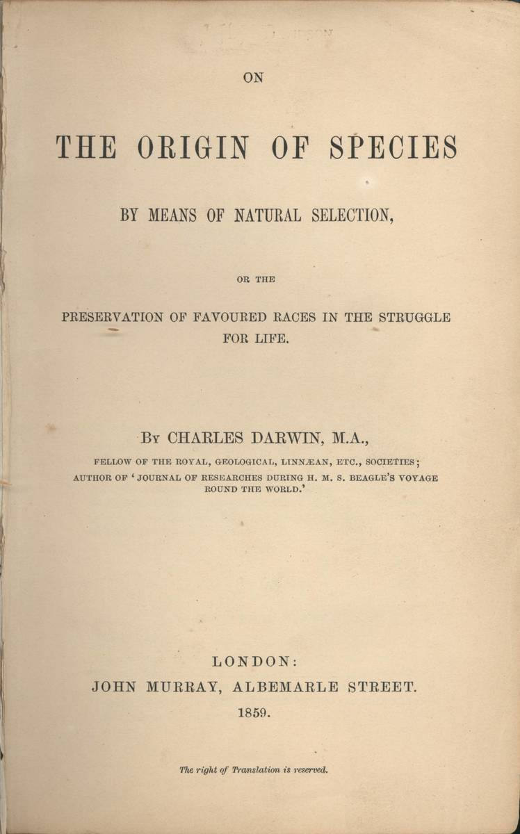 Standard origin of species title page