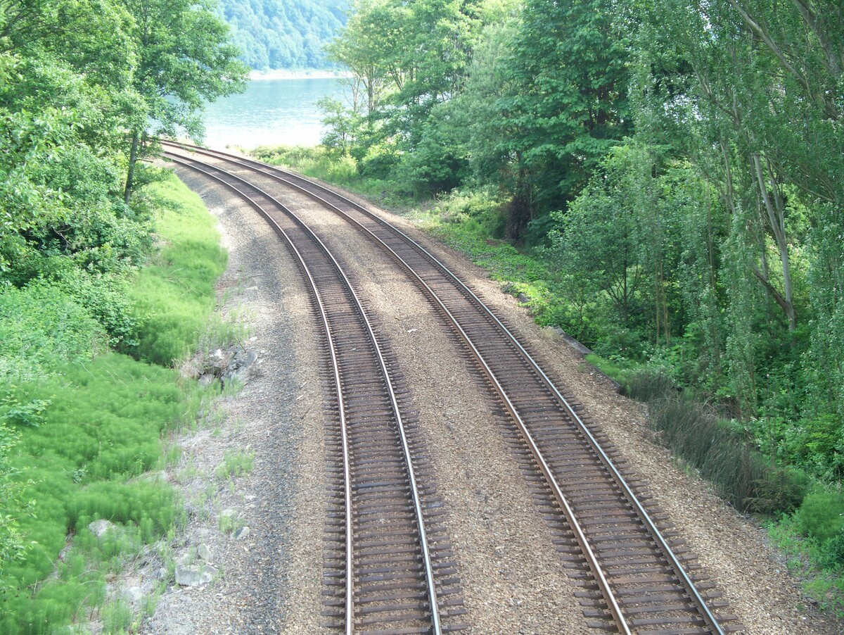 Standard twin track of train rails in a wooded area 1