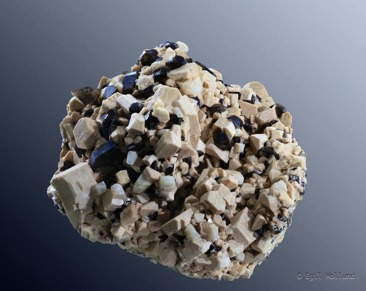 Standard smokey quartz and orthoclase crystals from fuglemyr hurum buskerud o