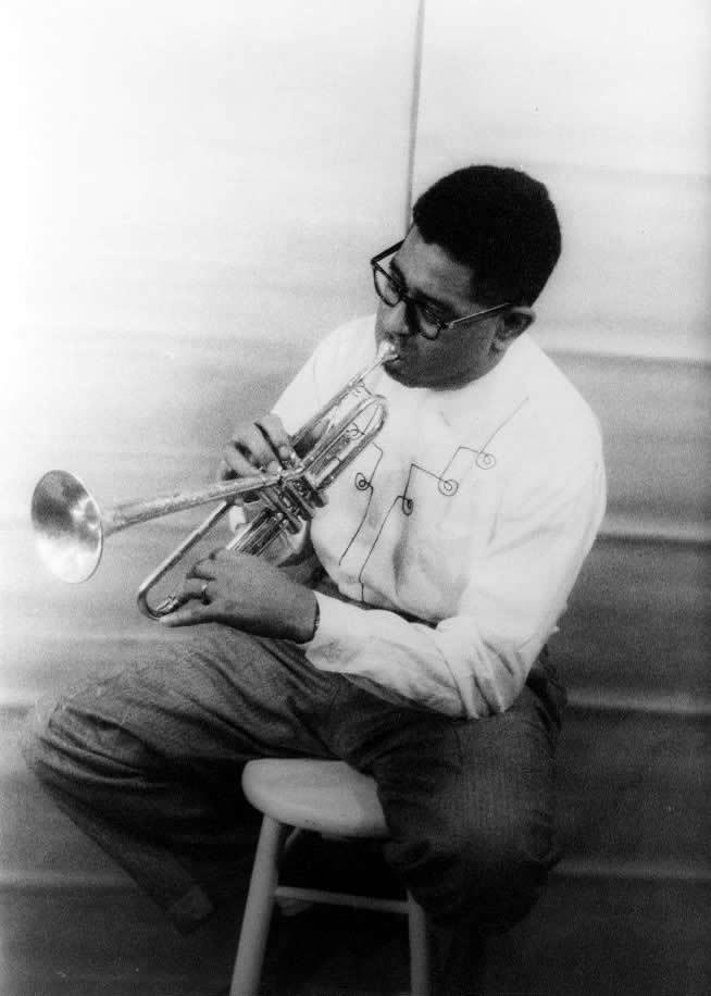 Standard dizzy gillespie playing horn 1955