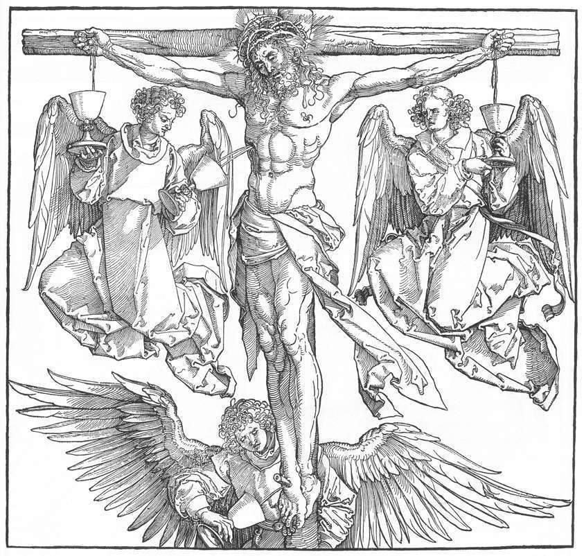 Standard albrecht d rer   christ on the cross with three angels   wga7260