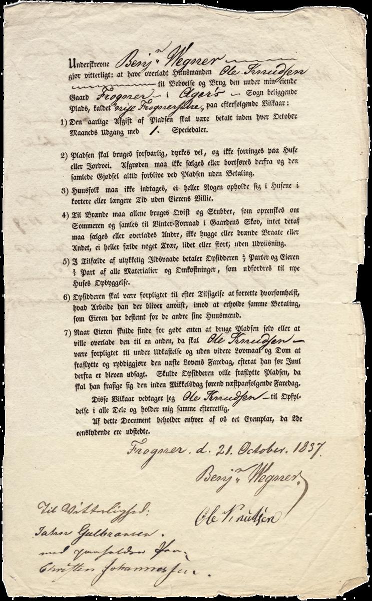 Standard husmannskontrakt for frognerseteren