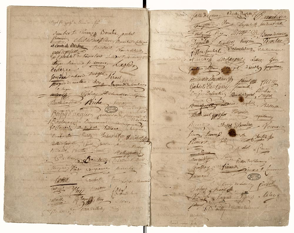 Standard du serment du jeu de paume page de signatures   archives nationales   ae i 5