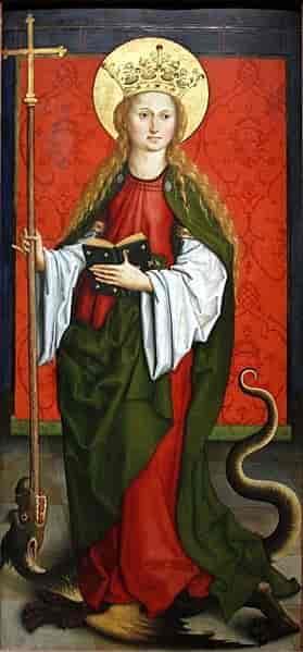 En klassisk fremstilling av Margareta av Antiokia som stikker korsstaven i dragens gap. Av José Luiz Bernardes Ribeiro, Kilchberg Altar, Staatsgalerie i Stuttgart