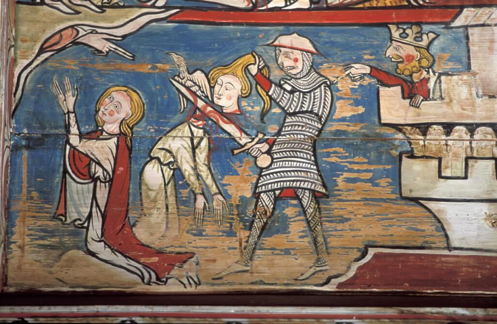Etter mange pinsler ble Margareta til slutt halshogd. Avbildning i Torpo stavkirke